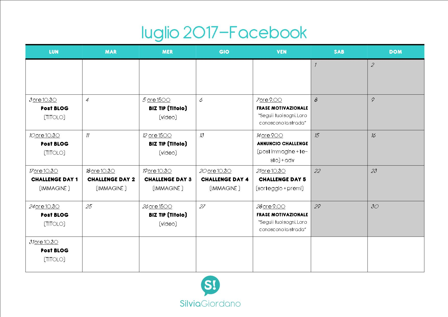 Sample calendario editoriale social media